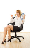 Happy woman in lunch-time. Young beautiful businesswoman in lunch-time - isolated Royalty Free Stock Photo