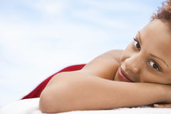 Happy Woman Lying On Massage Table Stock Photos