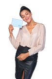 Happy woman with mail Stock Photo