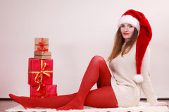 Happy woman make christmas presents Royalty Free Stock Photos