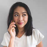 Happy woman make a phone call. Royalty Free Stock Photography