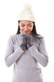 Happy woman making a wish or praying in fall or winter Royalty Free Stock Photo