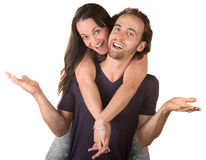 Happy Woman On Man's Back Royalty Free Stock Photography