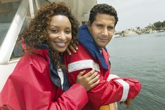 Happy Woman With Man On The Yacht Royalty Free Stock Images