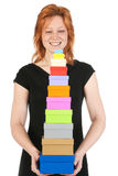 Happy woman with many presents Stock Photography