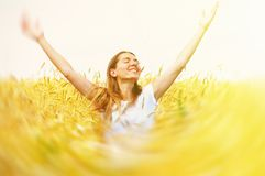 Happy woman in meadow. Stock Photos