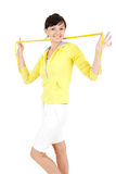 Happy woman with measure tape Royalty Free Stock Photos