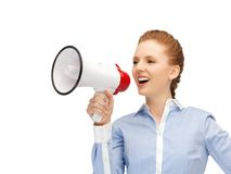 Happy woman with megaphone Stock Photos