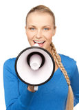 Happy woman with megaphone Royalty Free Stock Photography