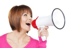 Happy woman with megaphone Royalty Free Stock Images