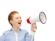 Happy woman with megaphone Stock Image