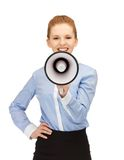 Happy woman with megaphone Stock Photography