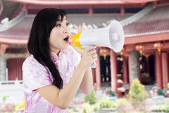 Happy woman with megaphone Stock Images