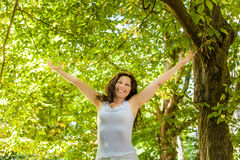 Happy woman in menopause stock photography