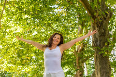 Happy woman in menopause Stock Images