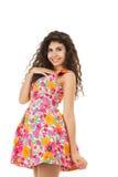 Happy woman in mini dress Stock Image