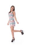 Happy woman in mini dress Royalty Free Stock Image