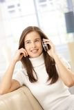 Happy woman on mobile call Royalty Free Stock Photos