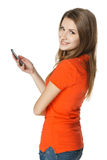 Happy woman with mobile phone royalty free stock photo