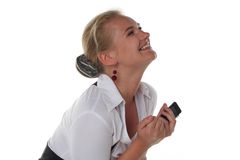 Happy woman with mobile phone Stock Images