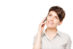 Happy woman with mobile phone and space. Left Stock Photography