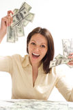 Happy woman with the mone Stock Photos