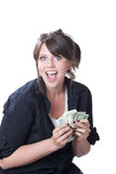 Happy woman with money. A young happy woman with money in her hands; isolated on a white background Stock Photography