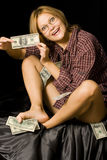 Happy woman with money Stock Image