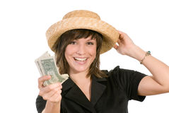 Happy woman with money Royalty Free Stock Photo