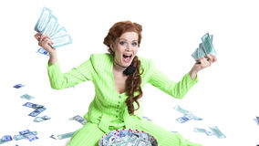 Happy woman with money in a box Stock Images