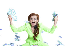 Happy woman with money in a box Royalty Free Stock Image