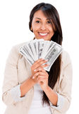 Happy woman with money Royalty Free Stock Photography
