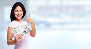 Happy woman with money. Stock Photos