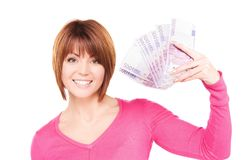 Happy woman with money Stock Photography