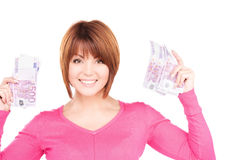 Happy woman with money Stock Photos