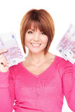Happy woman with money Stock Images