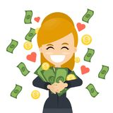 Happy woman with money. Happy smiling business woman hugging with money Stock Image