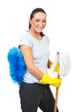 Happy woman with mop and brush. Happy young woman holding mop and blue brush isolated on white background royalty free stock image