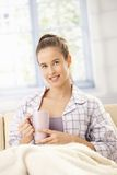 Happy woman with morning coffee Royalty Free Stock Image