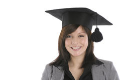 Happy woman in mortar board Stock Photos
