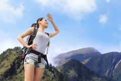 Happy woman mountain hiker Royalty Free Stock Images