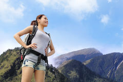 Happy woman mountain hiker Stock Photo