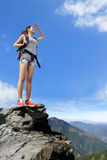 Happy woman mountain hiker Stock Images