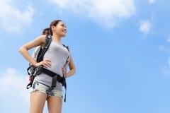 Happy woman mountain hiker Stock Image
