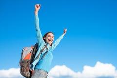 Happy woman mountain hiker royalty free stock photo