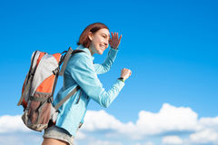 Happy woman mountain hiker royalty free stock photo