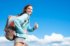 Happy woman mountain hiker royalty free stock photography