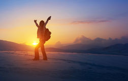 Happy woman in the mountains Royalty Free Stock Photo