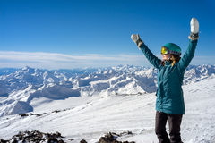 Happy woman in the mountains Royalty Free Stock Images