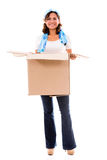 Happy woman moving Royalty Free Stock Photos
